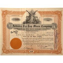 AZ - Prescott,Yavapai County - 1920 - Arizona Tip Top Mines Company Stock Certificate - Fenske Colle