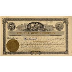 AZ - Tucson,Pima County - Jan 22 1908 - Red Hill Mining Co Stock Certificate - Fenske Collection