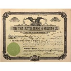 AZ - Tucson,Pima County - January 28, 1904 - Twin Buttes Mining & Smelting Co. Stock Certificate