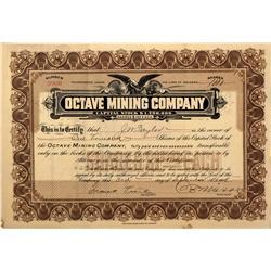 AZ - Yavapai,September 3, 1908 - Octave Mining Company Stock Certificate