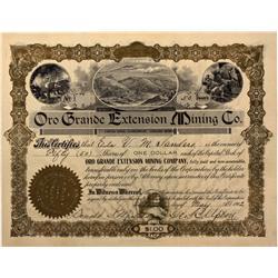 AZ - Yavapai,1907 - Oro Grande Extension Mining Co. Stock Certificate - Fenske Collection