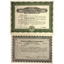 AZ - Yuma County,1916/1927 - Arizona Mining Stock Certificates