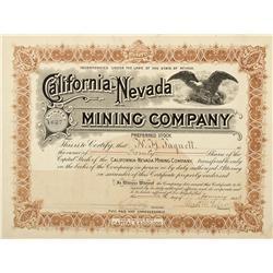 CA - 1903 - California-Nevada Mining Company Stock Certificate - Fenske Collection