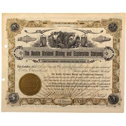 CA - Denver,Denver County - Double Dividend Mining and Exploration Company Stock Certificate - Fensk