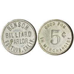 CA - Fortuna,Humboldt County - Benson Billiard Parlor Token