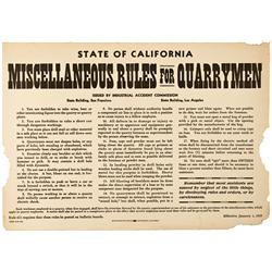 CA - San Francisco,January 1st, 1919 - California Miscellaneous Rules for Quarrymen