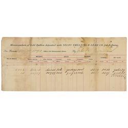 CA - San Francisco,Nov 18 1891 - Selby Smelting & Lead Co. Reciept