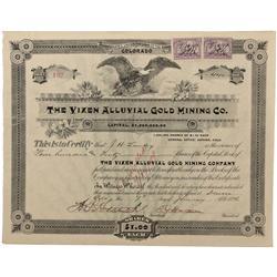 CO - Alma,Park County - 1896 - Vixen Alluvial Gold Mining Company Stock Certificate - Fenske Collect