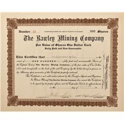 CO - Bonanza,Saguache County - 1917 - Rawley Mining Company Stock Certificate - Fenske Collection