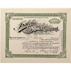 CO - Cripple Creek,El Paso County - 1903 - Isabella Mines Company Stock Certificate - Fenske Collect