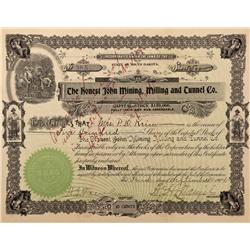 CO - Idaho Springs,Clear Creek County - 1904 - Honest John Mining, Milling and Tunnel Co. Stock Cert