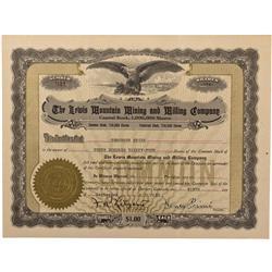 CO - La Plata,La Plata County - 1920 - Lewis Mountain Mining and Milling Company Stock Certificate -