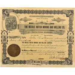 CO - Needleton,La Plata County - 1897 - The Needle Notch Mining and Milling Company Stock Certificat