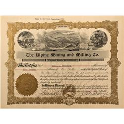 CO - Red Cliff,Eagle County - 1916 - Alpine Mining and Milling Company Stock Certificate - Fenske Co