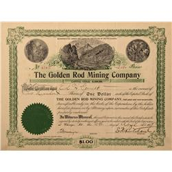 Dakota - 1907-1908 - Golden Rod Mining Company Stock Certificate - Fenske Collection