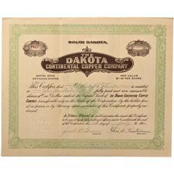 Dakota - Sheridan,Perrington County - 1914 - Dakota Continental Copper Company Stock Certificate - F