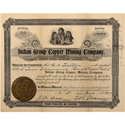 Dakota South - 1907 - Indian Group Copper Mining Company Stock Certificate - Fenske Collection
