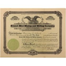 Dakota South - Deadwood,Lawrence County - 1907 - Branch Mint Mining and Milling Company Stock Certif