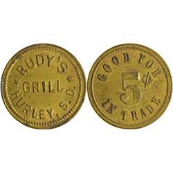 Dakota South - Hurley,Lincoln County - Rudy's Grill Token