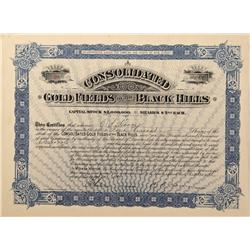 Dakota South - Lawrence County,1897 - Consolidated Gold Fields of the Black Hills Stock Certificate