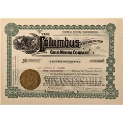 Dakota South - Lead City,Lawrence County - 1907 - Columbus Consolidated Gold Mining Company Stock Ce