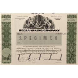 ID - Wallace,Shoshone County - 1983 - Hecla Mining Company Stock Certificate, SPECIMEN - Fenske Coll