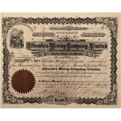 ID - Wardner,Shashone County - 1916 - Alhambra Mining Company, Limited Stock Certificate - Fenske Co