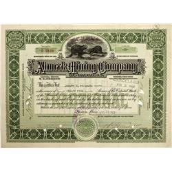 MI - Kearsarge,Keweenaw Peninsula - July 27, 1922 - Ahmeek Mining  Company Stock Certificate