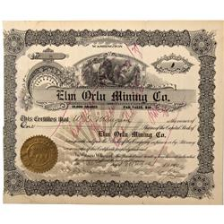 MT - Butte,Silver Bow County - 1907 - Elm Orlu Mining Co. Stock Certificate - Fenske Collection
