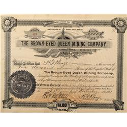 MT - Great Falls,Liberty County - 1891 - Brown-Eyed Queen Mining Company Stock Certificate - Fenske