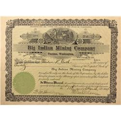 MT - Helena,Lewis and Clark County - 1904 - Big Indian Mining Company, Tacoma, Washington Stock Cert