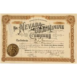 NV - July 26, 1897 - Nevada Gold Mining Company, Stock - Gil Schmidtmann Collection