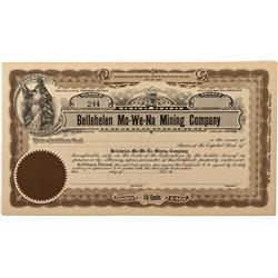 NV - Bellehelen,Nye County - 1920 - Bellehelen Mo-We-Na Mining Company Stock Certificates