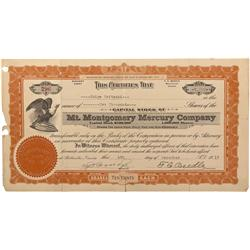 NV - Belleville,Mineral County - 1917 - Mt. Montgomery Mercury Company Stock Certificate