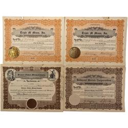 NV - Belmont,Nye County - 1928, 1931, 1935 - Belmont Area Mining Stock Certificates
