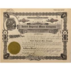 NV - Cherry Creek,White Pine County - 1927 - United Imperial Mines Company Stock Certificates