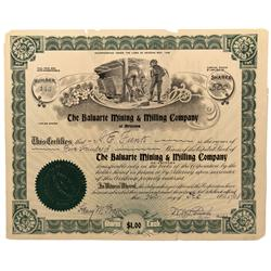 NV - Columbus,Esmeralda County - 1908 - The Baluarte Mining & Milling Company Stock Certificate