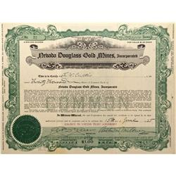 NV - Douglass,Mineral County - 1925 - Nevada Douglass Gold Mines Incorporated Certificate