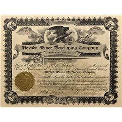 NV - Edgemont,Elko County - 1907 - Nevada Mines Developing Company Stock Certificate