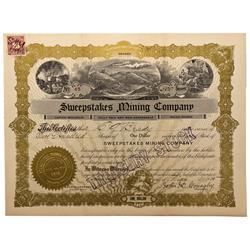 NV - Elko,1910 - Sweepstakes Mining Company Stock Certificate