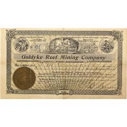 NV - Goldyke,Nye County - 1907 - Goldyke Reef Mining Company Stock Certificate - Fenske Collection