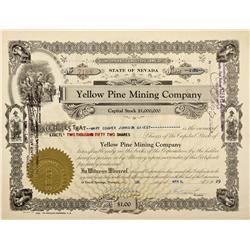 NV - Goodsprings,Clark County - 1929 - Yellow Pine Mining Company Stock Certificate - Fenske Collect