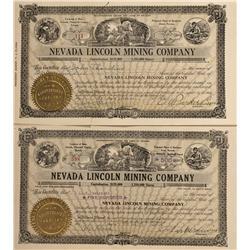 NV - Lincoln,Churchill County - 1916 - Nevada Lincoln Mining Company Stock Certificates