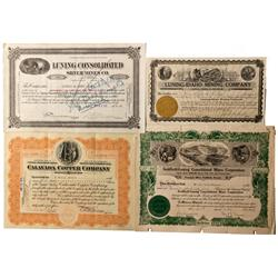 NV - Luning,Mineral County - 1917,1918, 1912, 1926 - Luning Area Mining Stock Certificates