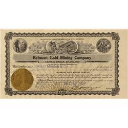 NV - Manhattan,Nye County - Jan 31, 1907 - Belmont Gold Mining Company Stock Certificate