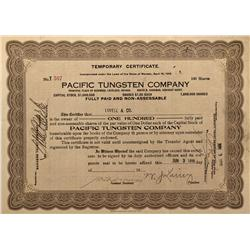NV - Mill City,Pershing County - 1918 - Pacific Tungsten Compant Stock Certificate