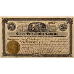 NV - Nye County,1904 - Crater Gold Mining Company Stock Certificate - Gil Schmidtmann Collection