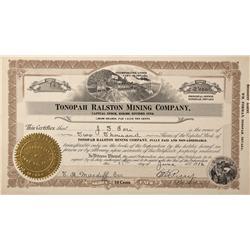 NV - Ralston,Nye County - 1916 - Tonopah Ralston Mining Company Stock - Fenske Collection
