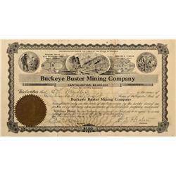 NV - Reno,Washoe County - Sept 13 1908 - Buckeye Buster Mining Co Stock Certificate - Fenske Collect