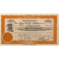 NV - Rowland,Elko County - 1938 - Bruneau Gold Incorporated Stock Certificate